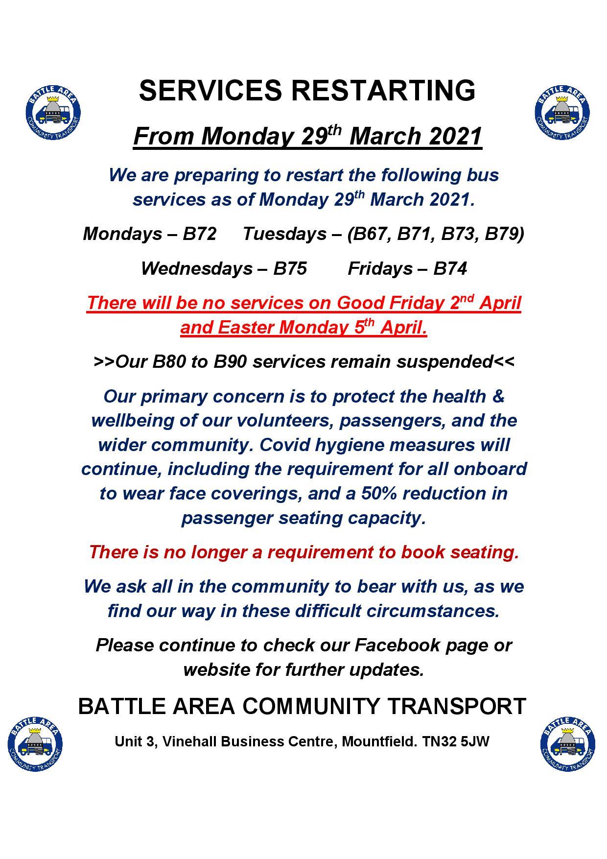 Battle Area Community Transport Update