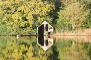 Boathouse reflection 2