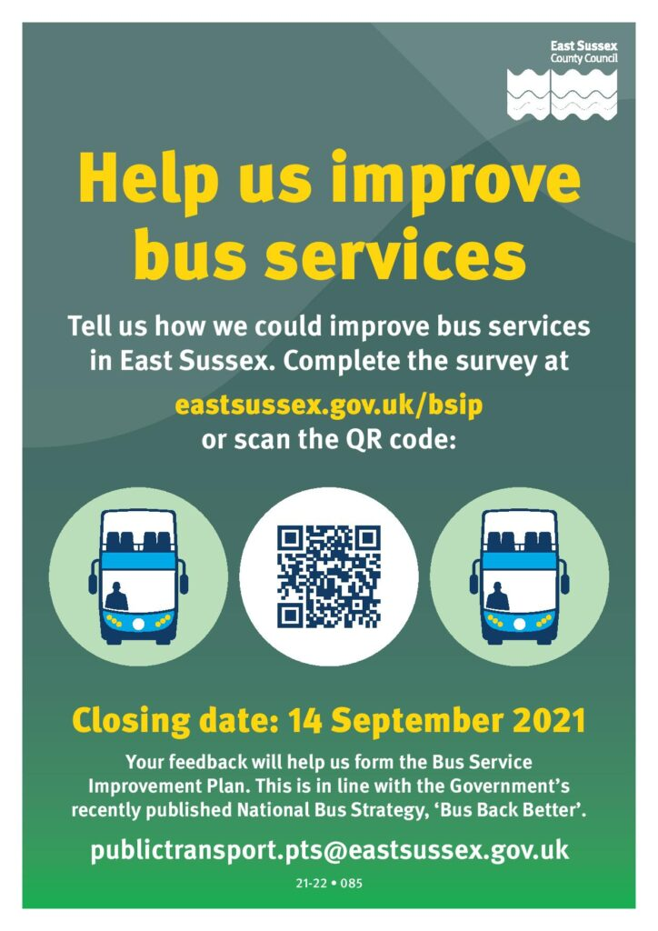 East Sussex Council Poster - Help us improve bus services - closing date: 14 September 2021